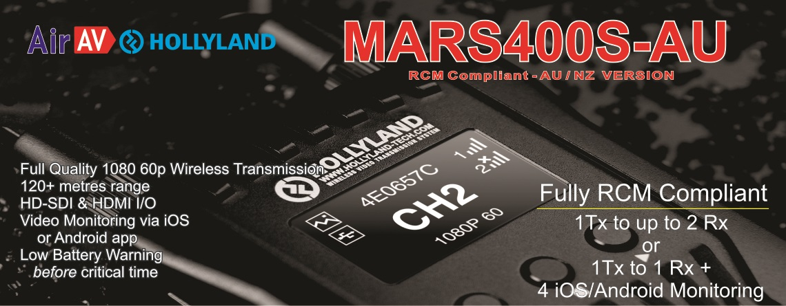 AirAV Hollyland MARS400S SDI & HDMI Wireless Camera System Banner