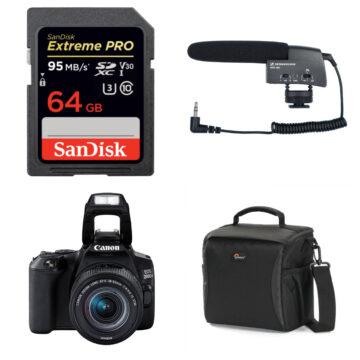 Canon 200D M2 Kit Including 18-55mm Lens, Sandisk 64GB Memory Card, Sennheiser MKE400 Mic And Lowepro Shoulder Bag