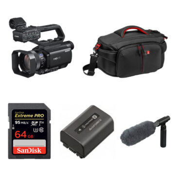 Sony HXRMC88 AVCHD Handheld Camcorder Kit With Sandisk 64GB SD Card, NPFV70A Spare Battery, ECMVG1 Mic And Manfrotto MBPLCC191N Carry Bag